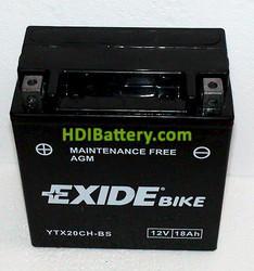 Batería moto Exide YTX20CH-BS AGM 12V. 18Ah